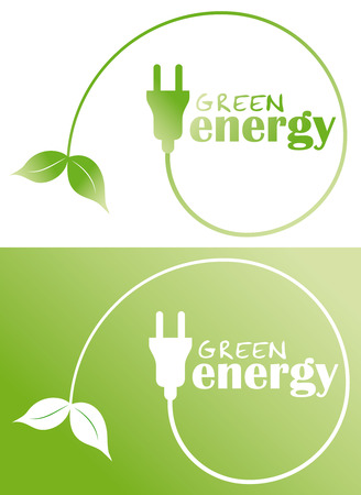 green leafs: green energy with plug and leaf Illustration