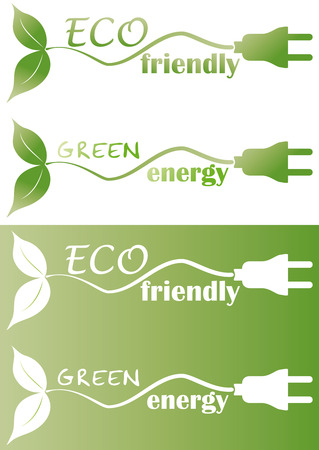 eco friendly with plug and leaf Vector