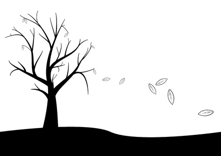 dead tree with fall leaves Vector