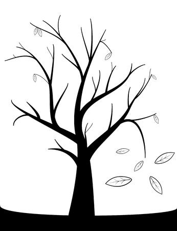 tree dead: albero morto con foglie di autunno Vettoriali