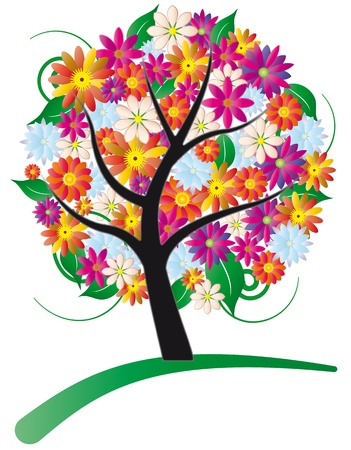tree stylized with colored flowers for foliage Vector