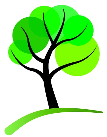 leaf logo: tree stylized with green circle foliage