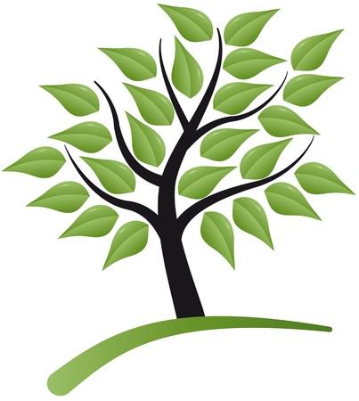 árbol estilizado con hojas Ilustración de vector