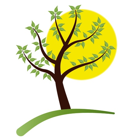 illustration of tree with leafs and yellow moon in background Stock Vector - 9449270