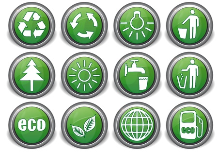 set eco green icons with white symbols Vector