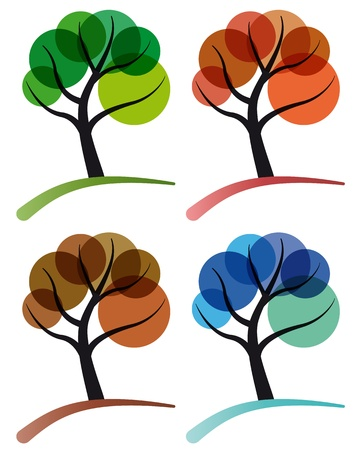 tree four seasons, spring, summer, autumn and winter Vector