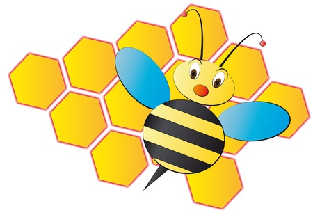 honeybee: illustration of cartoon bee with hive