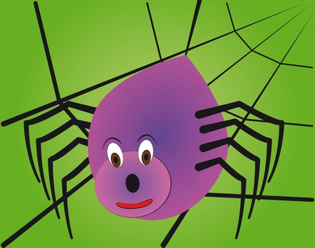 poisonous insect: illustration of cartoon spider with web in background Illustration