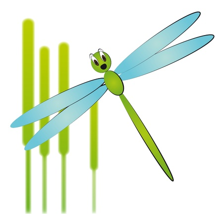 illustration of cartoon dragonfly with reeds Stock Vector - 9476586