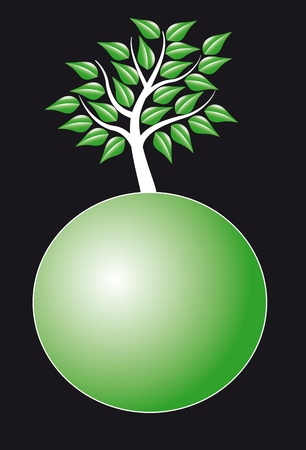 illustration of tree over the green sphere Stock Vector - 9476587
