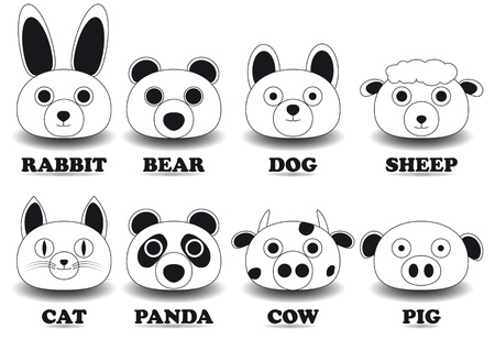 set animal face icons Vector