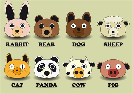 set color animal face icons 向量圖像