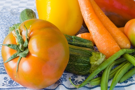 closeup of raw vegetables on the tablecloth Stock Photo - 9533964