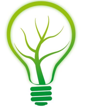 enviromental: Ilustraci�n de luz de l�mpara verde con �rbol