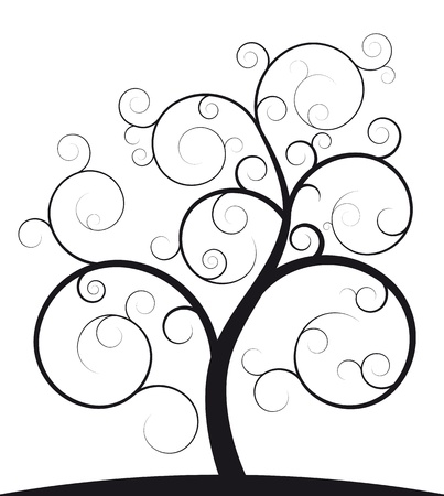 tree vertical: illustration of black spiral tree