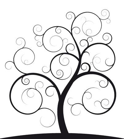 vida natural: Ilustración de árbol espiral negro