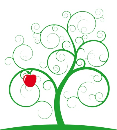 illustration of green spiral tree with red apple