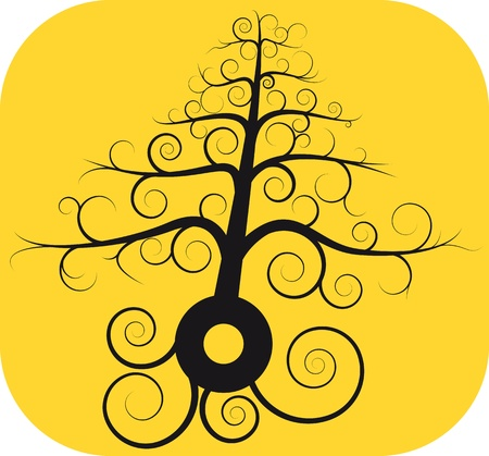 illustration of black spiral tree with root