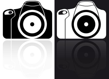 reflex camera: illustration of reflex black and white icon