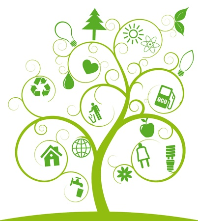 eco home: illustration of spiral tree with ecology symbols