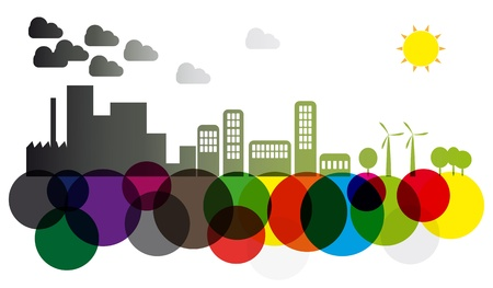 industry: illustration of pollution and green skyline