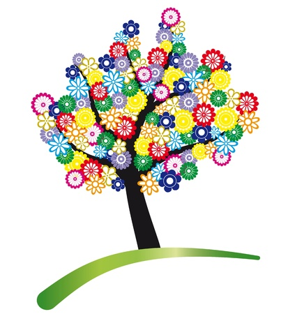 tree logo: tree stylized with colored flowers for foliage