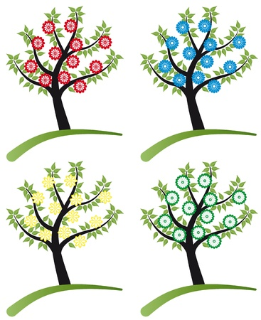 set of tree flowers color for foliage Stock Vector - 9667999