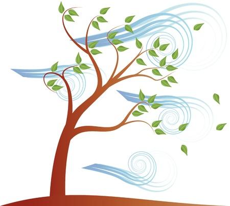 vent: illustration de l'arbre avec le vent et l'effet des nuages Illustration