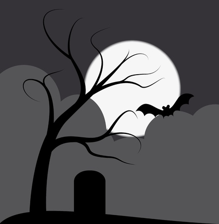 illustration of dark tree with grave and bat Иллюстрация