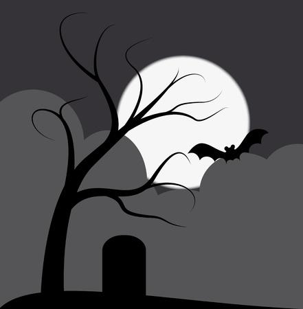leven en dood: illustration of dark tree with grave and bat Stock Illustratie