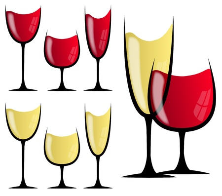 red wine glass: set illustration of white and red wine glass Stock Illustratie
