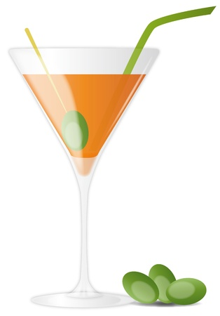 illustration of orange cocktail with olives and straw Stock Vector - 9849404