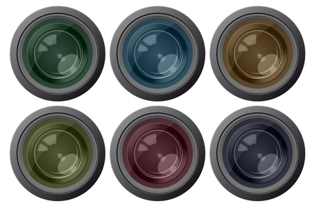 illustration of set of six color camera lens  Vector