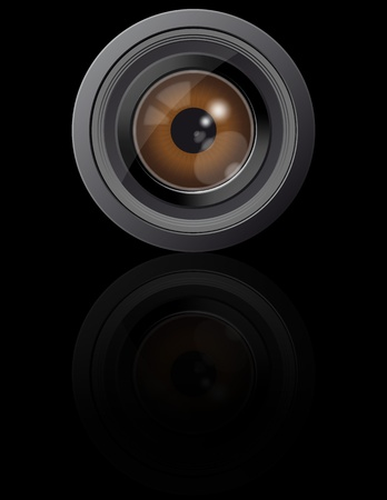 illustration of brown eye in camera lens Stock Vector - 9933878