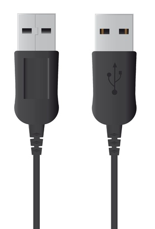 illustration of usb plug, front and rear view