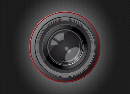 illustration of camera lens with carbon effect Stock Vector - 9933887