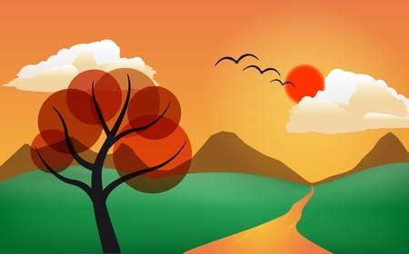 Illustration de l'arbre stylisé dans le coucher du soleil Banque d'images - 10001419