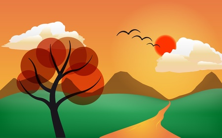 illustration of stylized tree in sunset  Vector