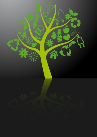 light reflex: illustration of tree with ecology symbols