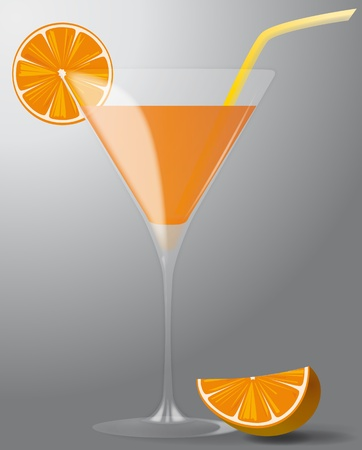 alcoholic beverage: illustration of cocktail with orange and straw