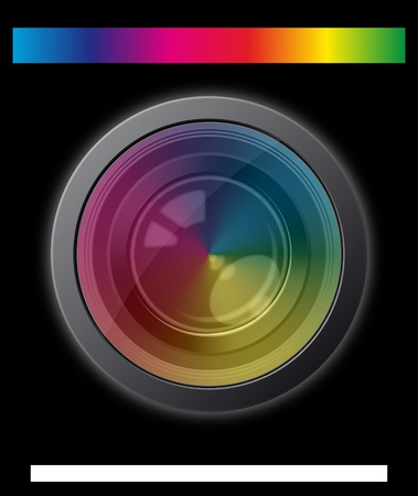illustration of camera lens with spectrum effect Stock Vector - 10001459