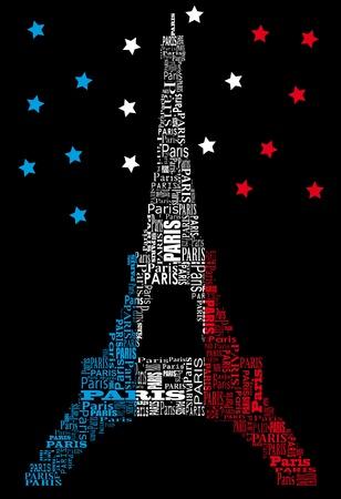 paris france: abstract tour eiffel with words Paris