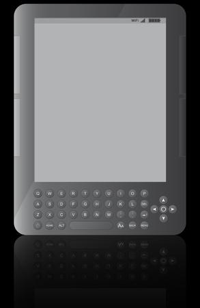 e reader: illustration of ebook reader with black background