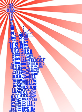 abstract statue of liberty with words USA Vector