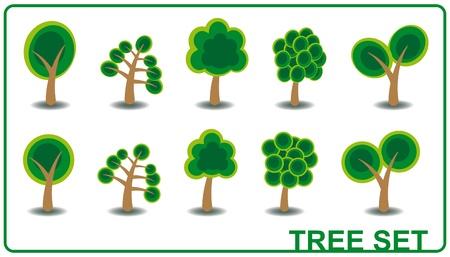 set illustration of green cartoon tree  Stock Vector - 10139634
