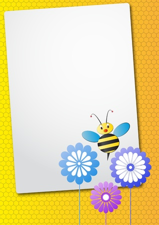 bee on white flower: illustration of sheet with bee and flower Illustration