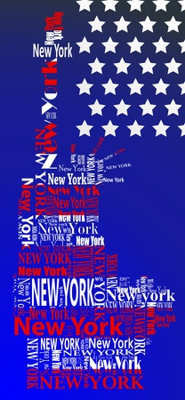 abstract statue of liberty with words New York Vector