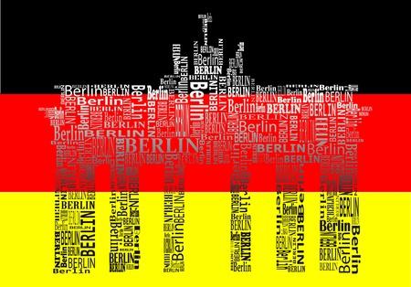 abstracte Brandenburger Tor met woorden Berlijn