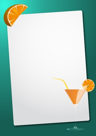 cocktail straw: illustration of sheet with oraqnge cocktail