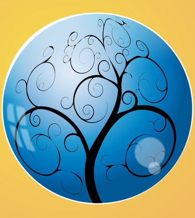reflection of life: illustration of swirl tree in the blue sphere